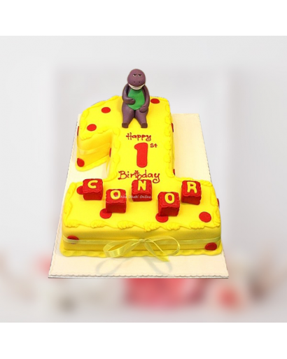 Barney Theme Number Cake