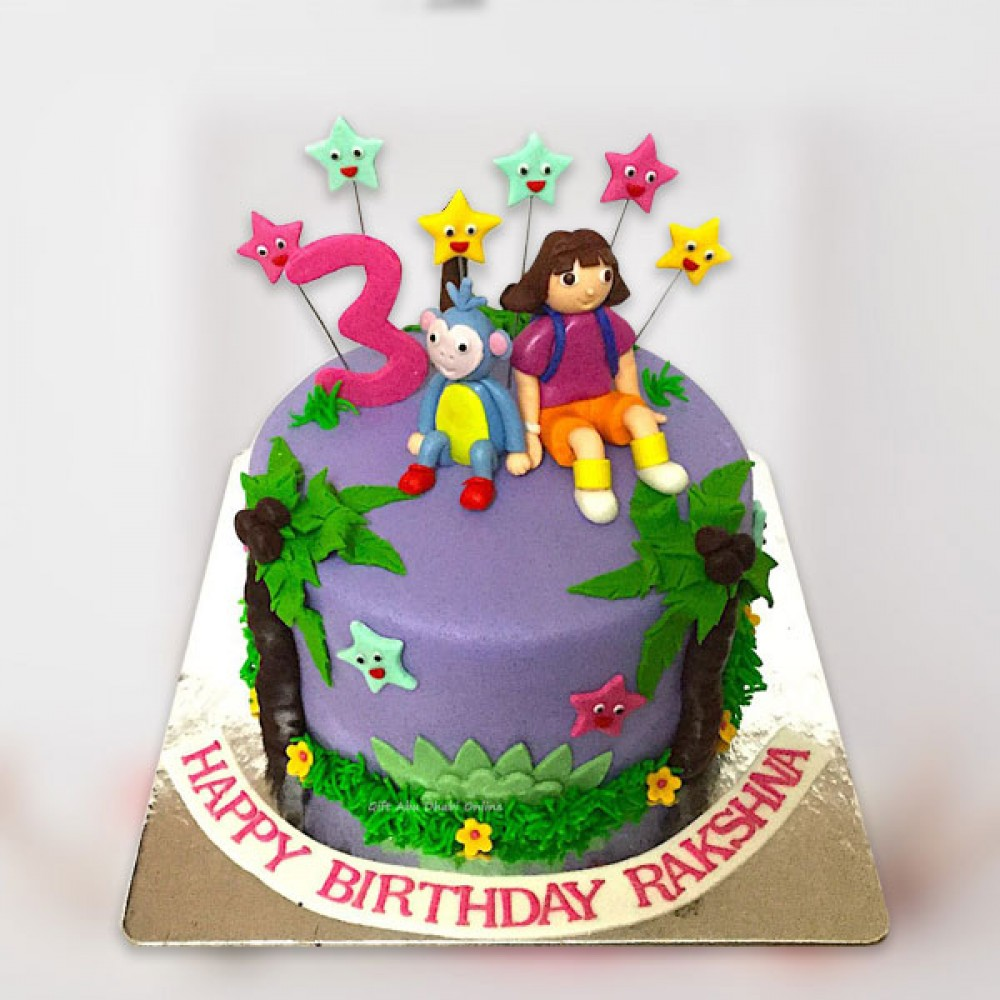 Incredible Dora Birthday Cake Gift Abu Dhabi Online Birthday Cards Printable Nowaargucafe Filternl