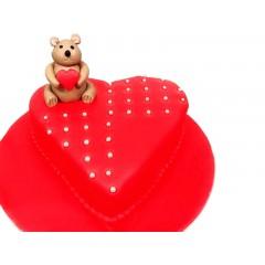 Bear Fondant Valentine Cake