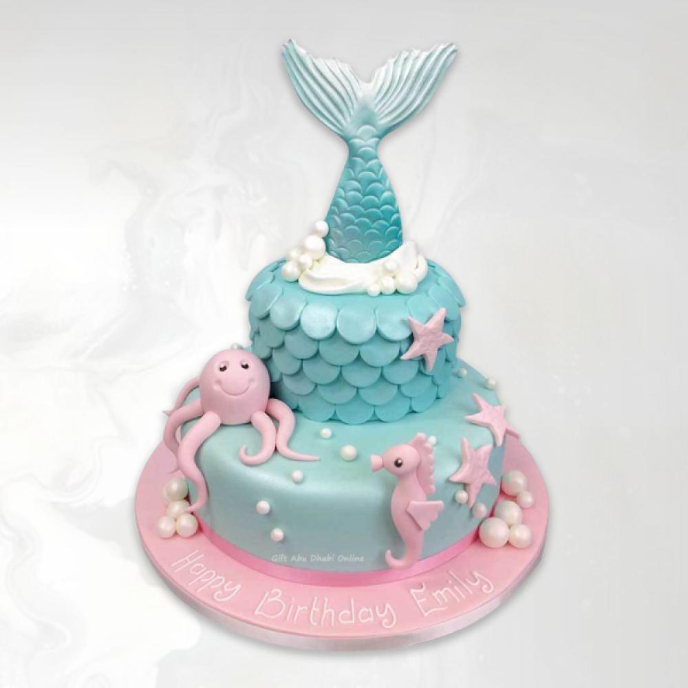 Fantastic Under Sea Creatures Mermaid Tail Cake Gift Abu Dhabi Online Personalised Birthday Cards Akebfashionlily Jamesorg