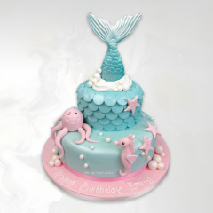 Under Sea Creatures Mermaid Tail Cake