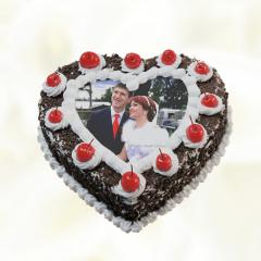 Heart Shaped Black Forest Photo Cake