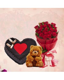 Flowers, Cake and Teddybear Combo Gift