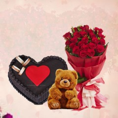 Flowers, Cake and Teddybear Combo Gift