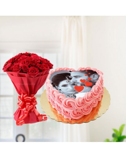 Photo Cake Red Roses Combo Gift