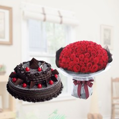 Chocolate Cake Rose Bouquet Combo Gift