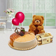 Ferrero Rocher Chocolates, Cake and Teddybear Combo Gift
