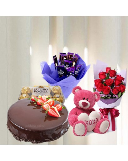Roses with Teddy Bear, Dairy Milk, Ferrero Rocher Chocolates, Cake Combo Gift