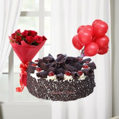 Black Forest Cake with Red Roses Bunch and Balloons Combo Gift