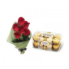 Red Rose Ferrero Rocher Chocolates Combo Gift