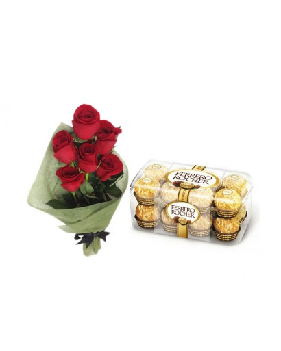 Red Rose Ferrero Rocher Chocolates Combo Gift