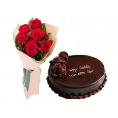 Rose Bouquet Chocolate Cake Combo