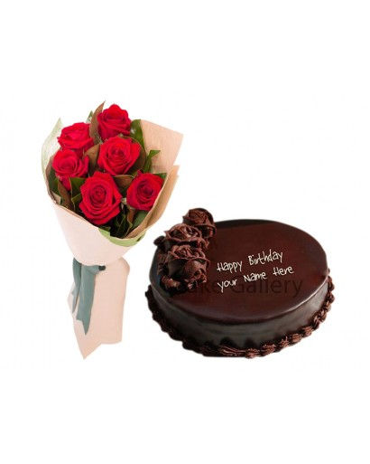 Rose Flowers Chocolate Cake Combo Gift