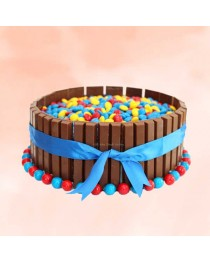 Gems and Kitkat Cake