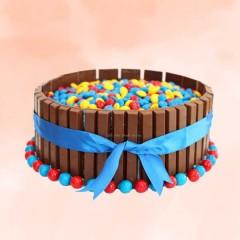 Gems and Kitkat Cake