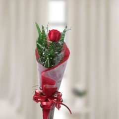 Flower Bouquet With Single Rose