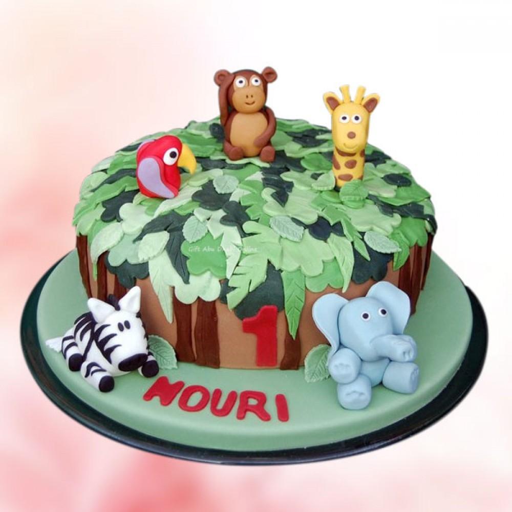 Peachy Animal Theme Birthday Cake Gift Abu Dhabi Online Personalised Birthday Cards Paralily Jamesorg