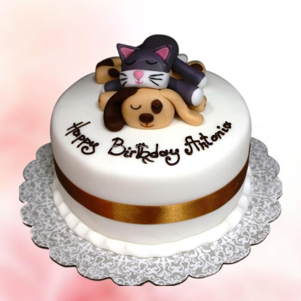 Astounding Dog Cat Fondant Birthday Cake Funny Birthday Cards Online Fluifree Goldxyz