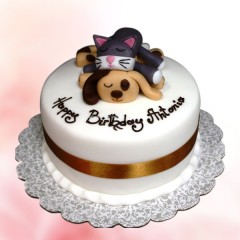 Dog Cat Fondant Birthday Cake