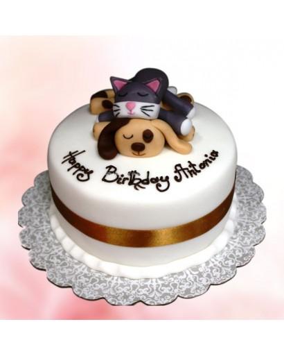 Dog Cat Fondant Birthday Cake