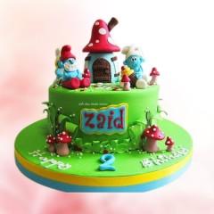 Smurf Theme Cake