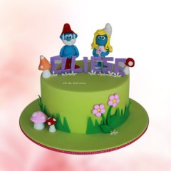Smurf Characters Cake